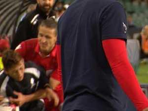 Brawl erupts as A-League star tackles ball boy