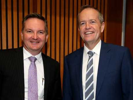 Shadow treasurer Chris Bowen and Opposition Leader Bill Shorten are laughing off Mr Turnbull's tax cut promises. Picture Kym Smith