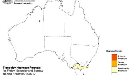Heat is on: The Bureau of Meteorology heatwave map., Picture: Supplied