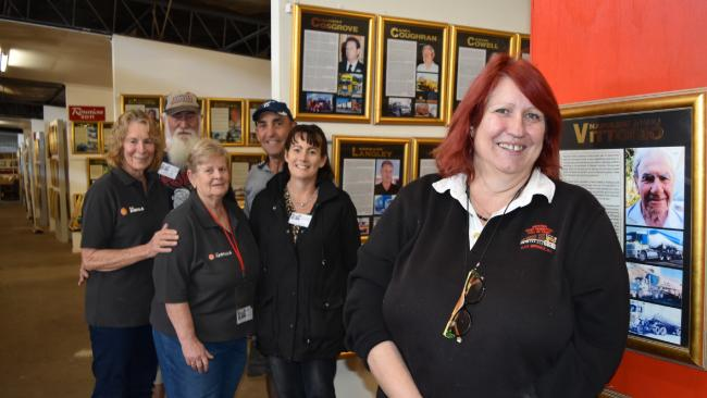 National Road Transport Hall of Fame CEO Liz Martin with volunteers Marg Leese, Bob Hodder, Sandi Mason, Terry Plumbe and Mayleen Plumbe. Picture: Andrea Johnston