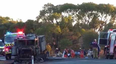 Emergency services at the scene on the Gipps Way near Condobolin. Source: TNV