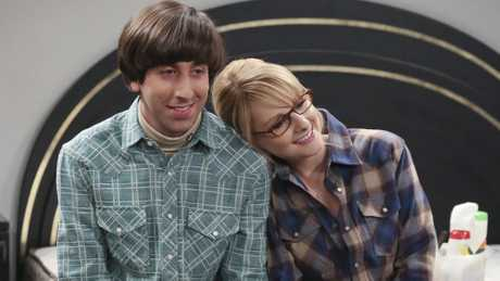 Simon Helberg and Melissa Rauch in a scene from the TV series The Big Bang Theory. Supplied by Channel 9/WIN.