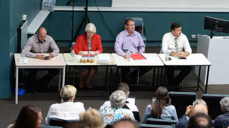 L-R Rockhampton candidates Wade Rothery (One Nation), Margaret Strelow (Independent), Barry O'Rourke (ALP), and Douglas Rodgers (LNP) at the candidates forum at CQ University.