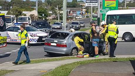 A crash has blocked a major intersection.