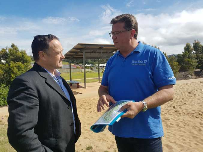 Nick Barker and LNP candidate for Toowoomba North Trevor Watts.