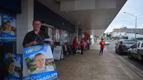 Liberal National Party candidate for Gladstone Chay Conaglen has handed out how to vote cards at the pre polling booth almost every day.