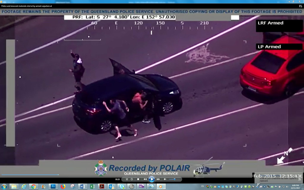 Footage filmed by POLAIR in Queensland of an alleged carjacking by John Tough and Calin McCabe.
