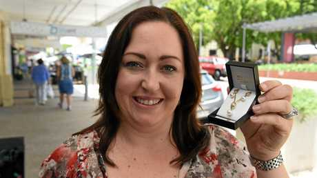 Rebecca Myatt from Myatt Jewellers with a 9ct gold freshwater pearl and diamond pendant and earring set to be raffled for the 30th anniversary of the Maryborough Markets.