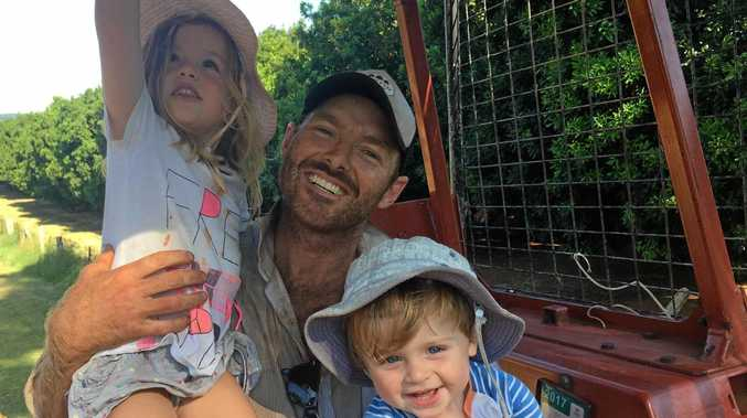 MAKING A PLAY: Austin Curtin with children Claudia, 4, and George, 2, on the family farm at Tregeagle after being named as the Nationals Party candidate for the seat of Lismore.