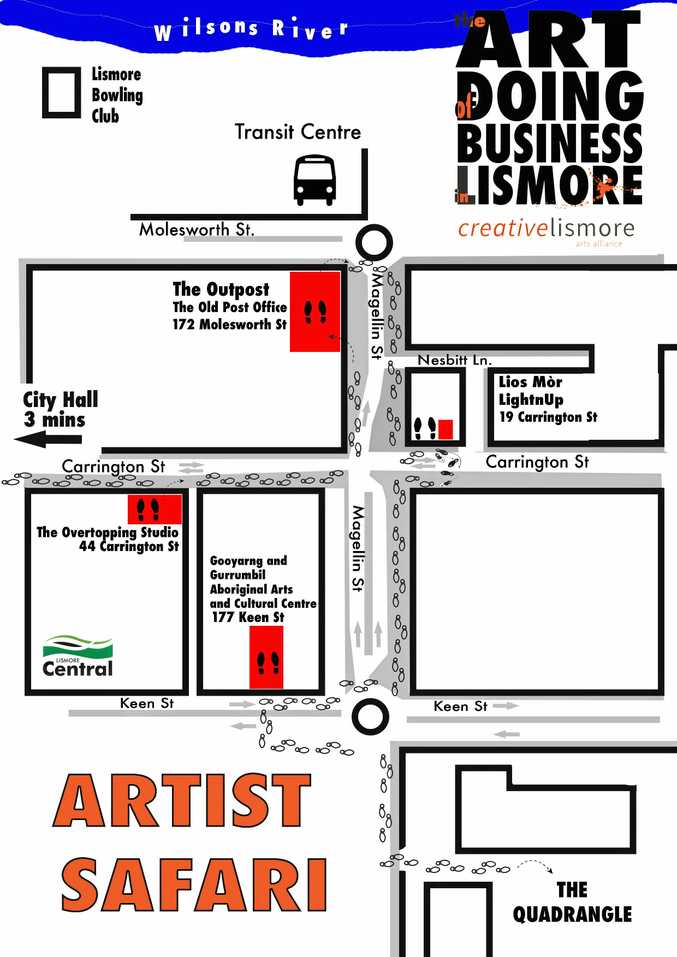 CHECK IT OUT: Art Safari trail map of Installations, musical performances, workshops and exhibitions taking part in newly activated Lismore CBD shop spaces to coincide with ARTSTATE 2017.