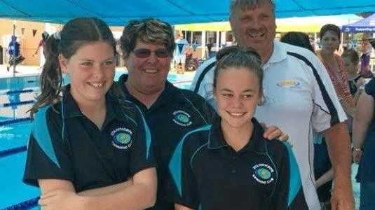 PROUD: Ella McGlashan and Taryn Hines with Gail and Michael Smail.
