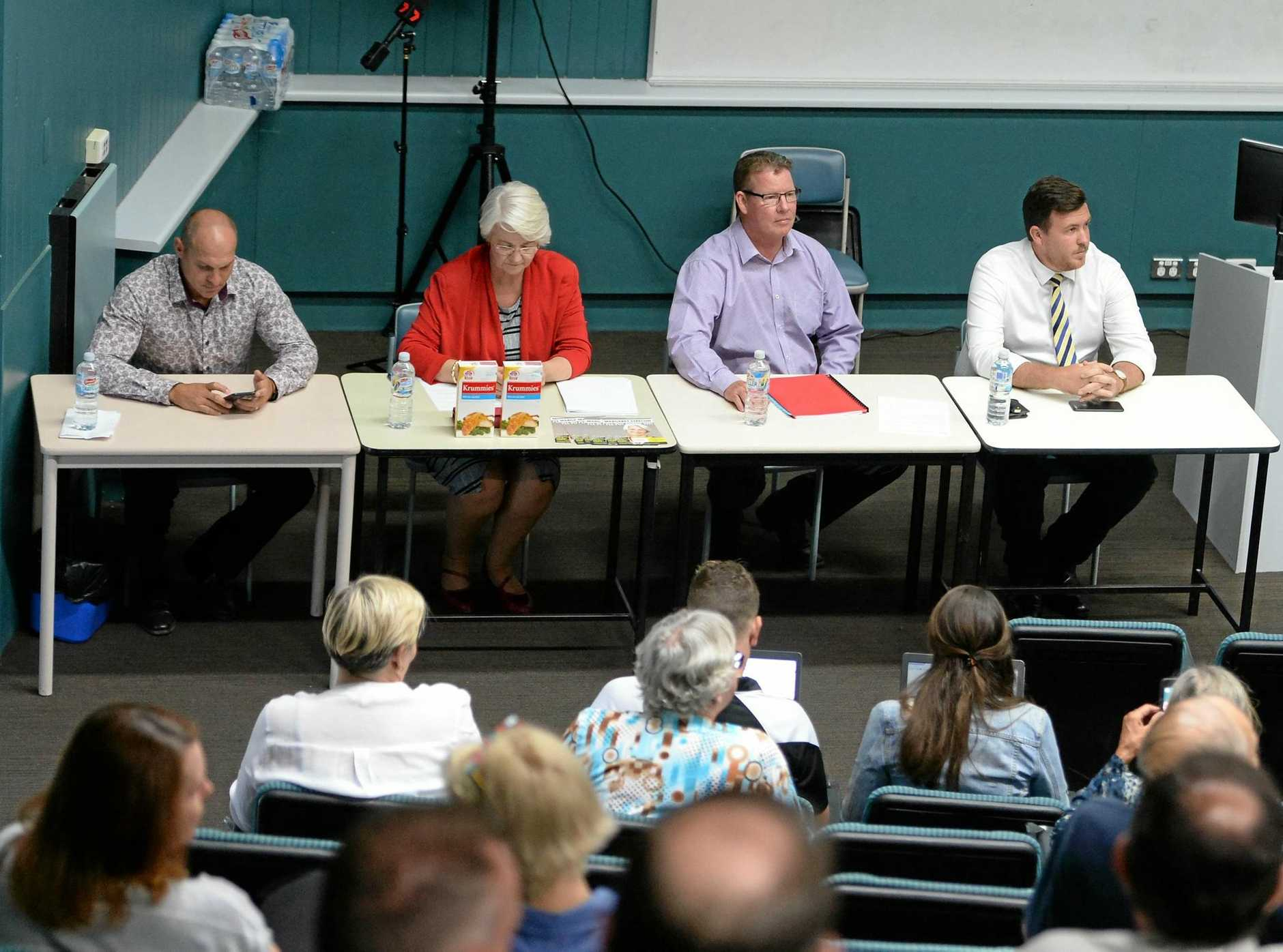 L-R Rockhampton candidates Wade Rothery (One Nation), Margaret Strelow (Independent), Barry O'Rourke (ALP), and Douglas Rodgers (LNP) at the candidates forum at CQUniversity.