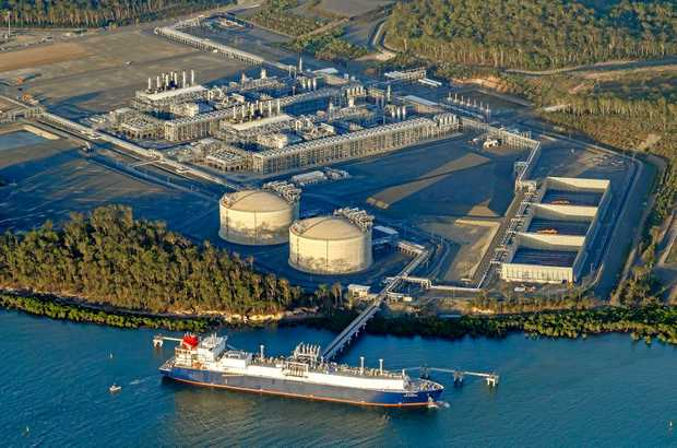 FUTURE PLANS: An aerial shot of the Australia Pacific LNG facility on Curtis Island.