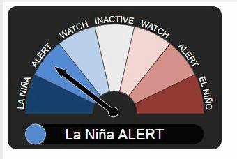 LA NINA: The Bureau of Meteorology's ENSO Outlook has been upgraded from La Nina watch to La Nina alert level.