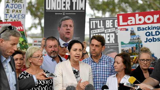 CAMPAIGN: Premier Annastacia Palaszczuk flanked by Bundaberg MP Leanne Donaldson, Health Minister Cameron Dick and Attorney-General Yvette D'Ath
