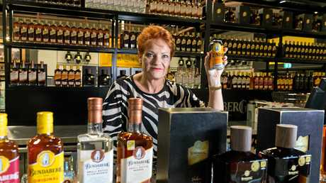 One Nation leader Senator Pauline Hanson is seen in the Bundaberg Rum Distillery in Bundaberg on Wednesday, November 22, 2017. One Nation says it will get rid of Qld 'nanny state' laws restricting the sale of pre-mixed drinks. (AAP Image/Paul Beutel) NO ARCHIVING