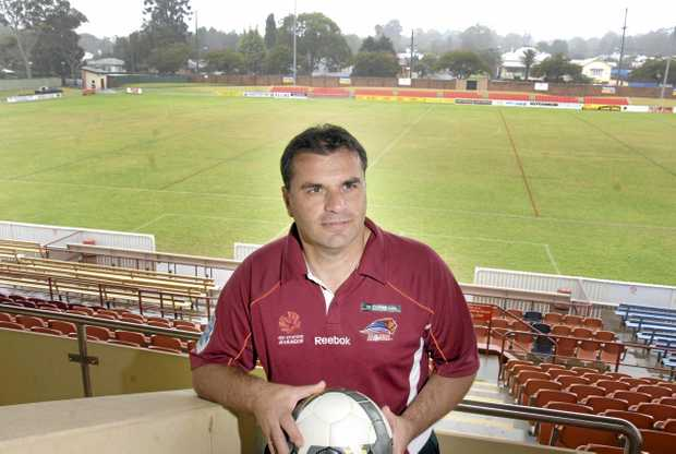 JOURNEY ENDS: Then Brisbane Roar coach Ange Postecoglou visited Toowoomba in 2010 to announce a Roar trial game for the region. Postecoglou shocked the Australian soccer community by announcing his decision to quit as Socceroos coach a year out from the World Cup.