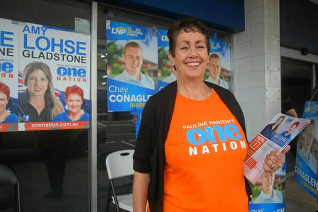 HANSON ON THE RISE: One Nation volunteer Joan Mackay said support for Pauline Hanson's party was strong in Gladstone.