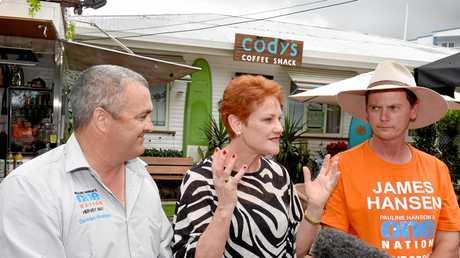 Hervey Bay's One Nation candidate Damian Huxham with party leader Senator Pauline Hanson and Maryborough candidate James Hansen.