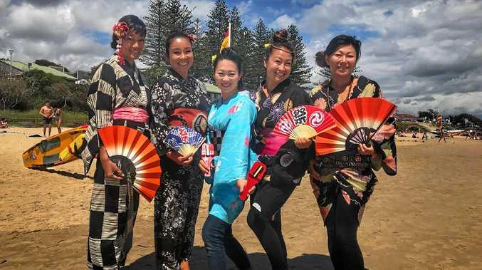 CULTURAL CONNECTION: Rieko Hayase, Mayu Akiba, Sayaka Ishii, Hiromi Shibasaki and Yumiko Suzuki bringing Japanese culture to Main Beach Byron Bay.