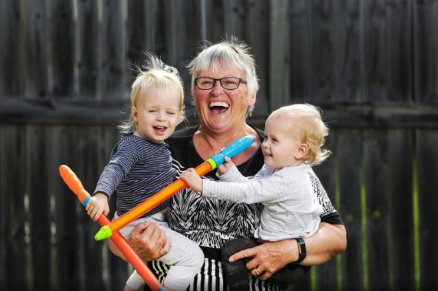 OLD-style grandmas on way out but Debby keeps up traditions. Debby Hague with her 1-year-old twin grandchildren Connor (dark blue top) and Lincoln (light top) Davies.