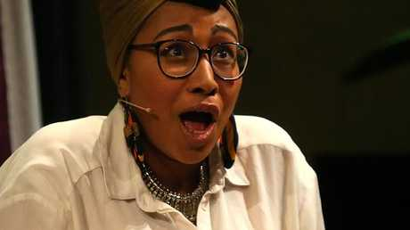 Yassmin Abdel-Magied speaking at an ANU event at the National Library in Canberra.