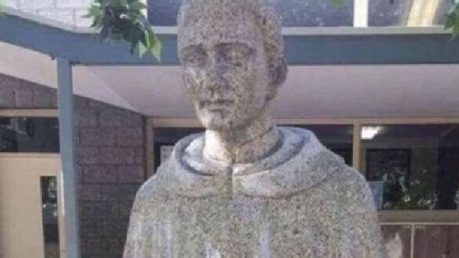 An Adelaide Catholic school has been forced to cover up a new statue over it's controversial design gained attention online. Picture: ShitAdelaide/Instagram