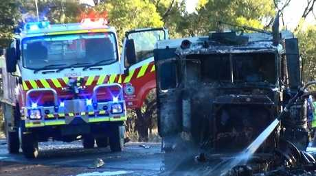 The truck's driver managed to escape before it burst into flames. Picture: TNV
