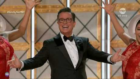 """Stephen Colbert warned viewers of """"extreme levels of Australianess"""" in the Katter clip. Picture: Fox8"""