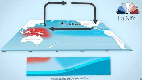 During a La Nina event, equatorial Pacific waters cool and trade winds increase. Picture: Bureau of Meteorology