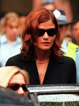 Helena Christensen attends Hutchence's funeral in Sydney. (Pic: News Corp)