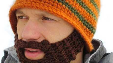 Knitted beard beanie from yellowoctopus.com.au