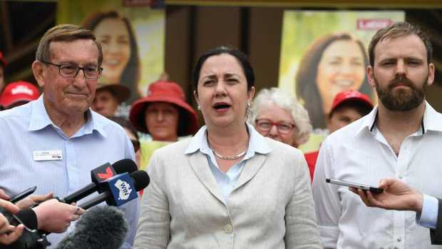 Labor candidate for Toowoomba North Kerry Shine, Premier Annastacia Palaszczuk,    candidate for Condamine Brendon Huybregts. Picture: AAP/Dan Peled