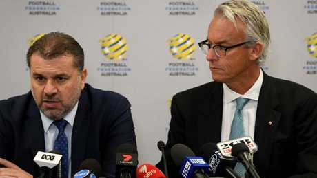 David Gallop (right) says he was puzzled by the decision made by Ange Postecoglou.