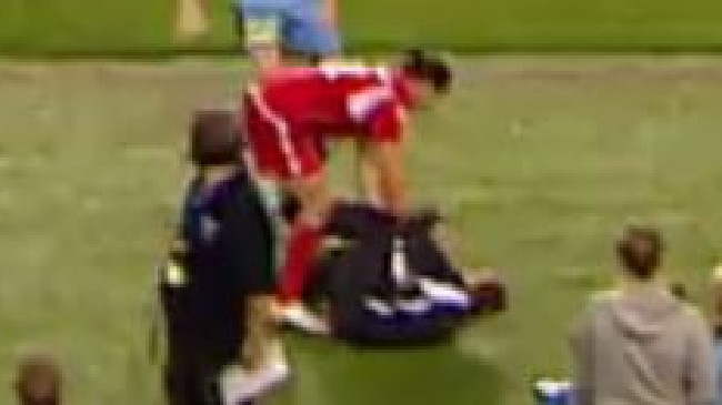 A still of Michael Marrone trying to extract the ball from a ball boy during the FFA Cup Final match between Sydney FC and Adelaide United at Allianz Stadium on Tuesday. Picture: FOXSPORTS