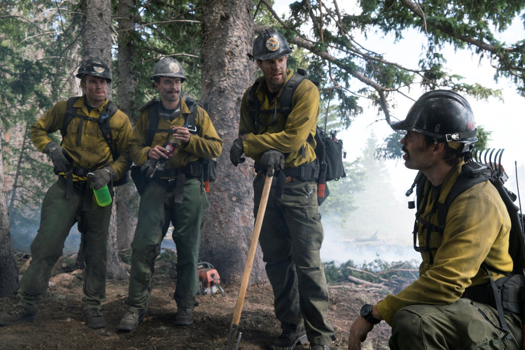 Scott Haze, Alex Russell, Geoff Stults and Taylor Kitsch in a scene from Only The Brave.