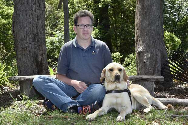 John Gamble and his guide dog, Heidi were turned away from two Toowoomba restaurants. November 2017