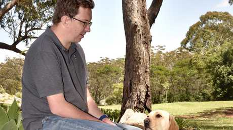 John Gamble and his guide dog, Heidi.