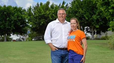 One Nation candidate for Jordan Michael Pucci with his wife Anna at Summit Park, Springfield Lakes.