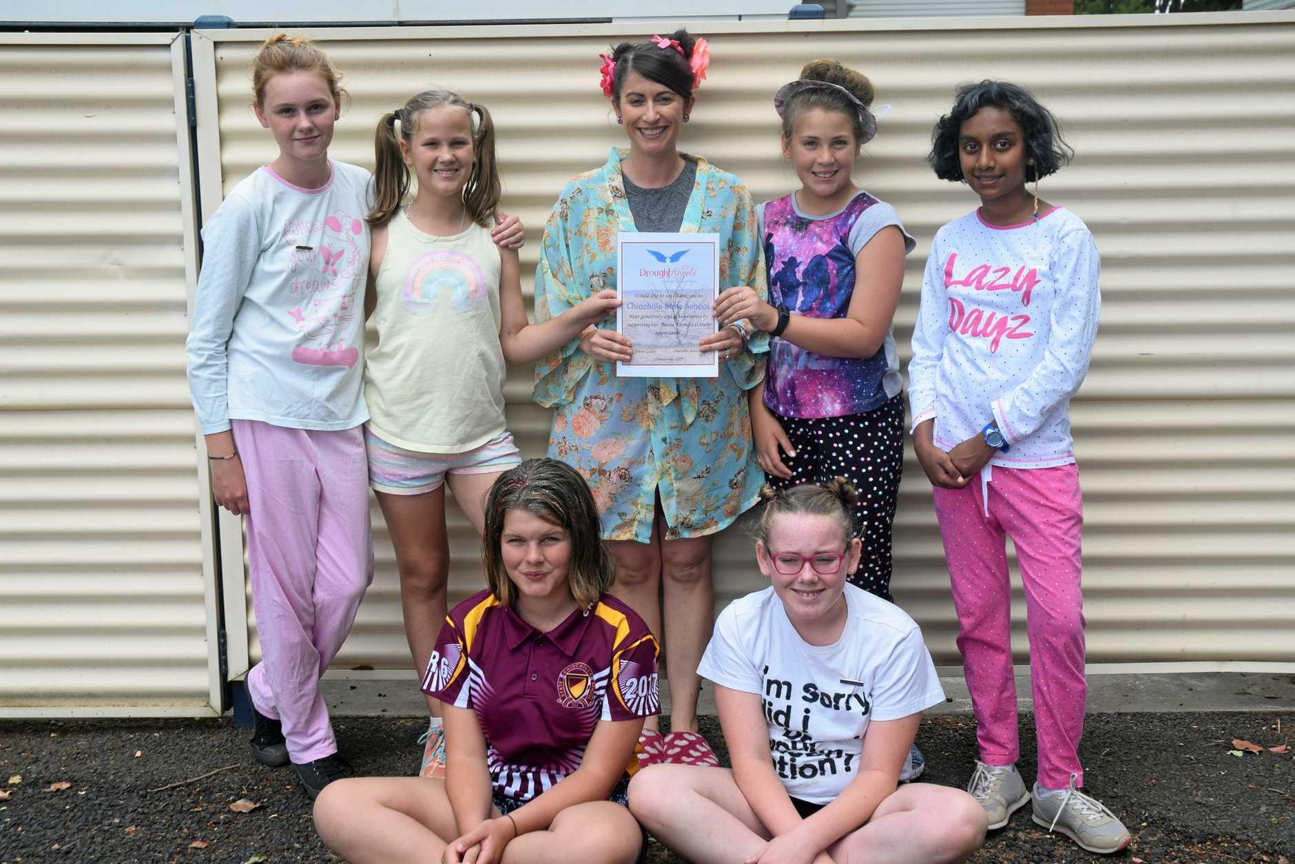 Amy Easterbrook, Josephine Truntle, Celeste Lee, Tori Wilce, Rashmi Chandran, Frances Mills, Libby Zhacek  Shave for a cure Chinchilla State School Nov 2017