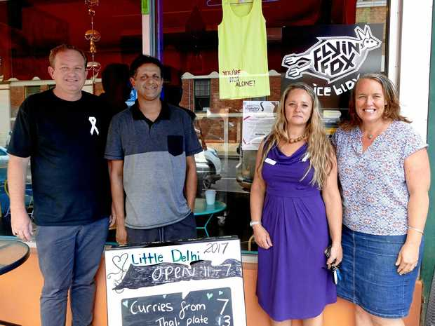 DIRTY LAUNDRY: Lismore restaurant Little Delhi supports Dirty Launcry Day. L-R Social Futures' Patrick Deegan, business owner Chris Warid. Dirty Laundry Day's Niki Gill and owner Gail Warid.