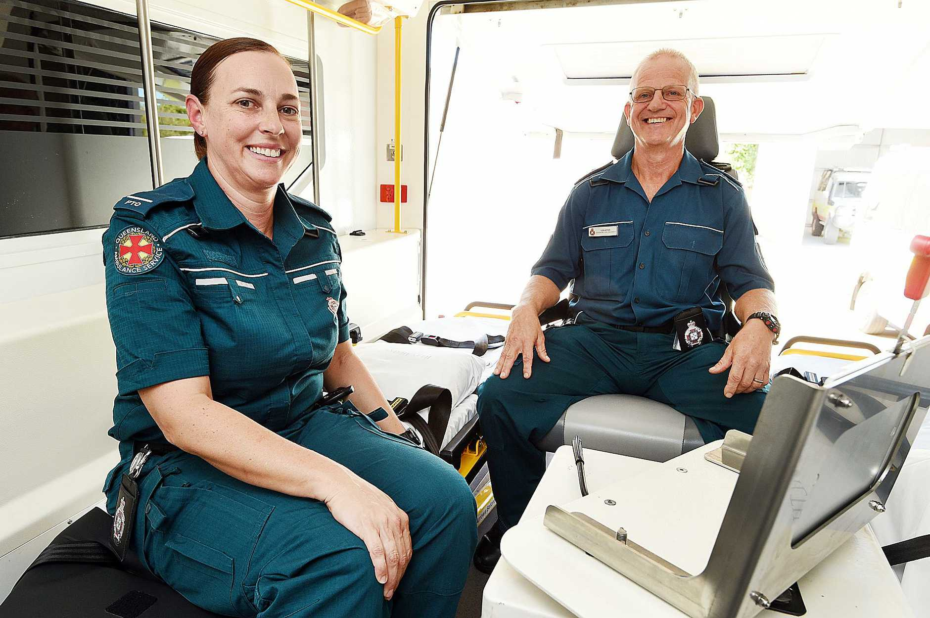 Paramedics Danielle Kellam and Graeme Cooper from Hervey Bay Ambulance Station.