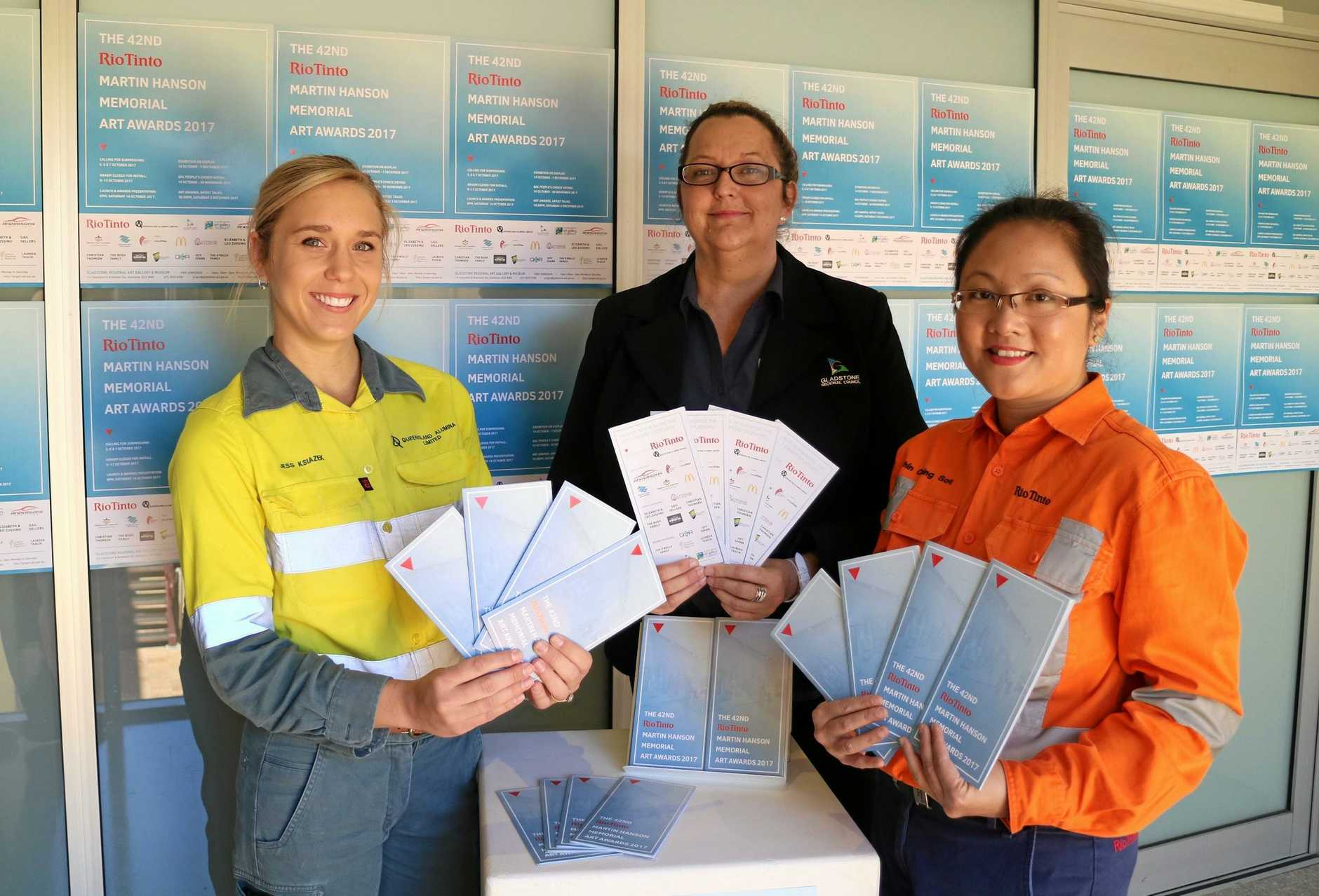 SUBMISSIONS READY: Queensland Alumina Limited communications and communities advisor Jessica Ksiazek, Gladstone Regional Art Gallery & Museum curator Jo Duke and Rio Tinto Yarwun communities and communications specialist Chin Ching Soo with the 2017 Rio Tinto Martin Hanson Memorial Art Awards entry forms.