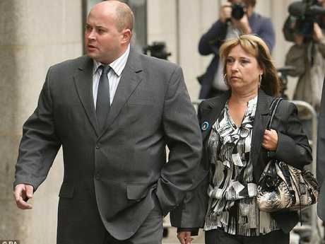Denise Fergus, mother of British murder victim James Bulger, with her then husband Stuart during the trial for Jon Venables years ago.