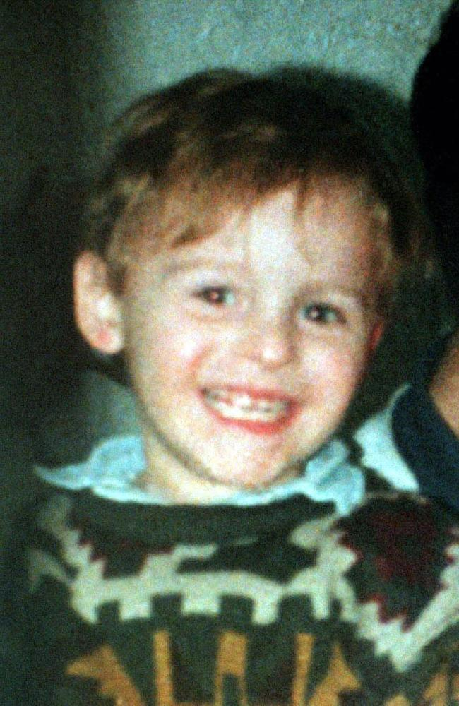 James Bulger who was beaten to death by Jon Venables and Robert Thompson on a railway line in Liverpool, England, in February 1993.