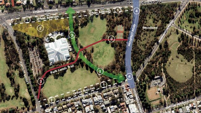 A map for an upgrade of Park 2 in the Adelaide Parklands. Source: Adelaide City Council