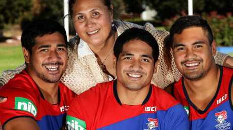 Matalena Mata'utia with her boys Chanel, Sione and Pat.