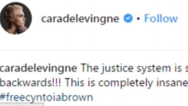 Cara Delevingne took to Instagram to voice her objections. Picture: Instagram