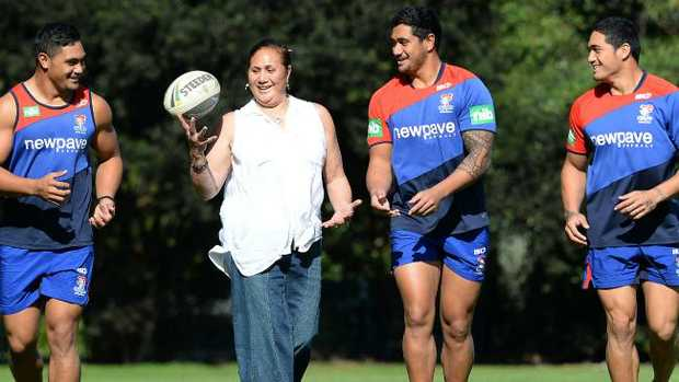 Matalena Mata'utia with her Newcastle boys Pat, Chanel and Sione.