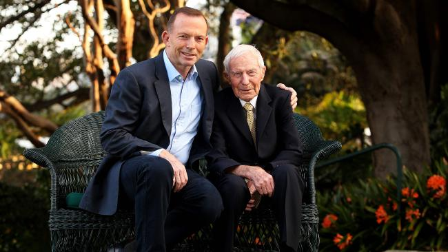 Former Prime Minister Tony Abbott with his father, Richard, at Kirribilli House on Father's Day 2015. Picture: Kristi Miller